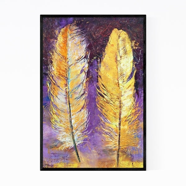 Noir Gallery Gold Feathers Abstract Painting Framed Art Print