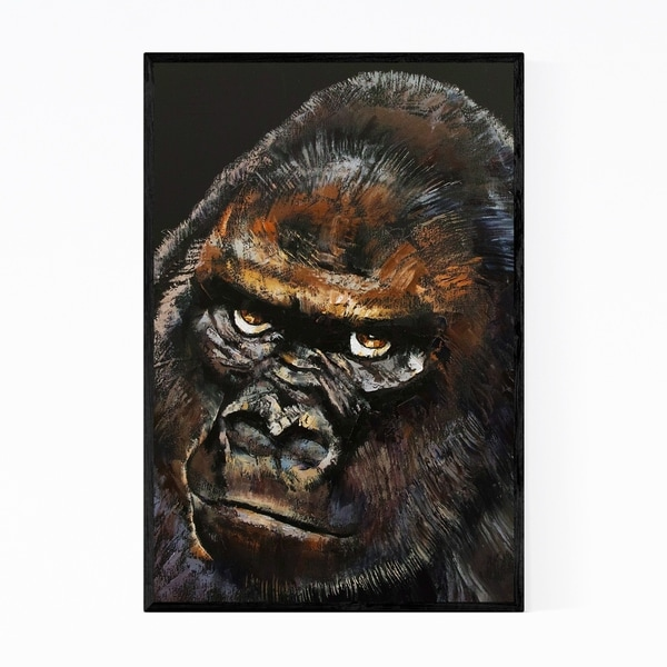 Noir Gallery Gorilla Animal Portrait Painting Framed Art Print