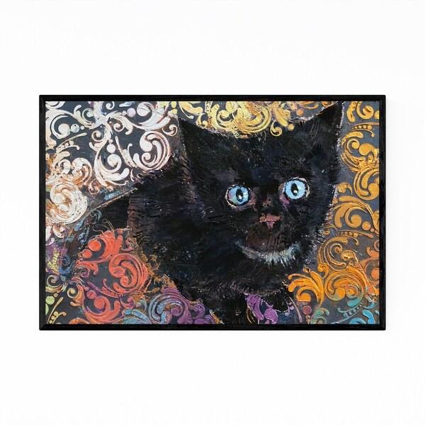 Noir Gallery Little Black Kitten Cat Animal Framed Art Print