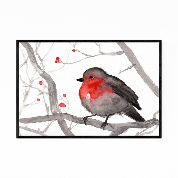 Noir Gallery Bird Animal Wildlife Painting Framed Art Print