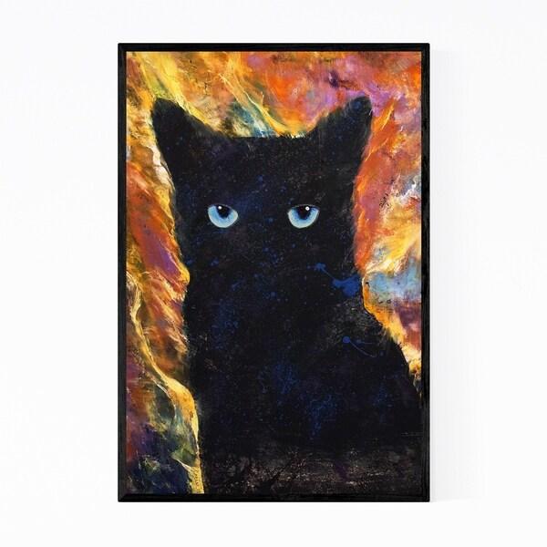 Noir Gallery Little Ninja Cat Animal Painting Framed Art Print