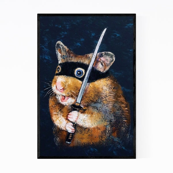 Noir Gallery Ninja Hamster Animal Painting Framed Art Print