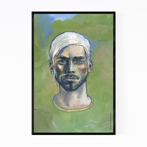 Noir Gallery Gouache Painting Man Portrait Framed Art Print