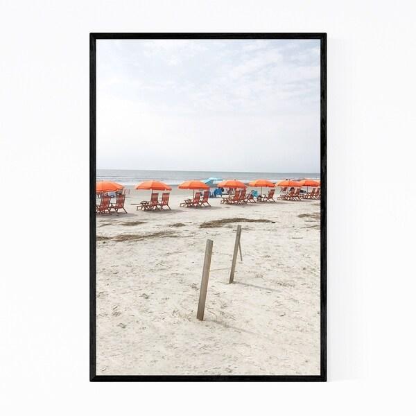 Noir Gallery Beach Umbrellas Coastal Nature Framed Art Print