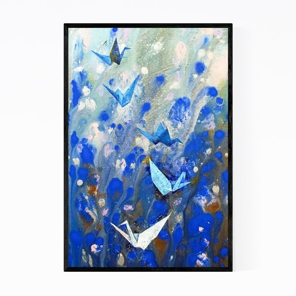 Noir Gallery Origami Cranes Abstract Painting Framed Art Print