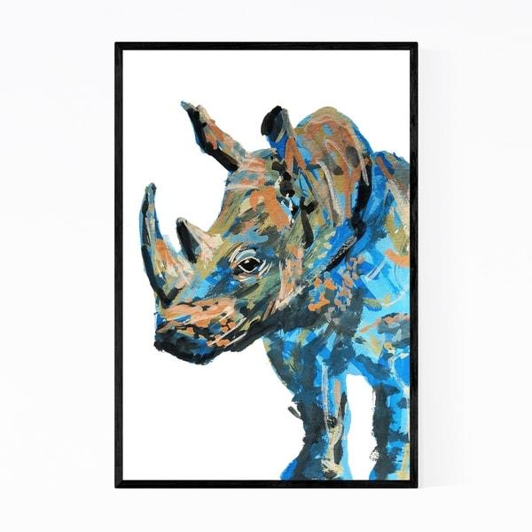 Noir Gallery Rhino Animal Wildlife Painting Framed Art Print