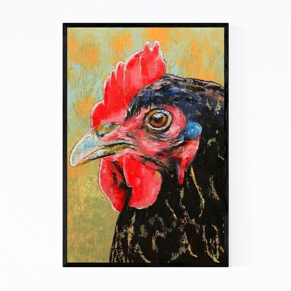 Noir Gallery Red Rooster Animal Painting Framed Art Print