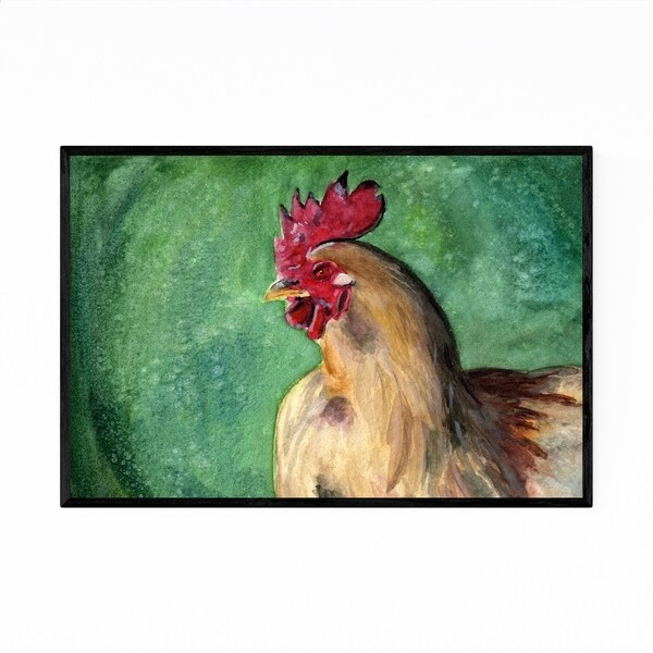 Noir Gallery Rooster Animal Watercolor Painting Framed Art Print