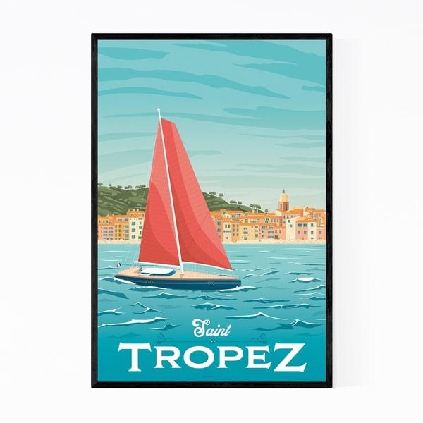 Noir Gallery Saint Tropez France Skyline Framed Art Print