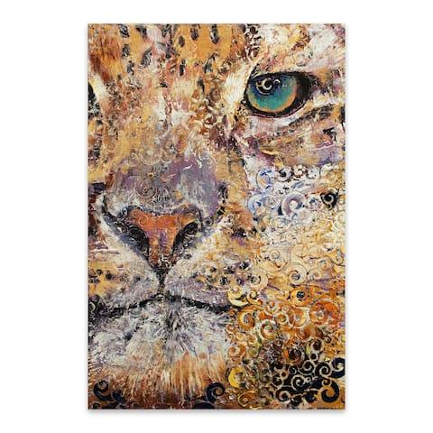 Noir Gallery Leopard Animal Painting Portrait Metal Wall Art Print