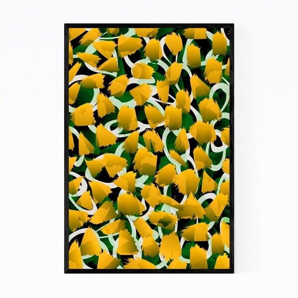 Noir Gallery Yellow Flowers Floral Botanical Framed Art Print