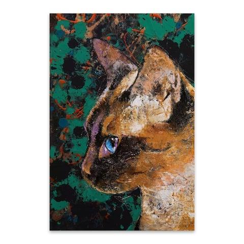 Noir Gallery Siamese Cat Animal Portrait Metal Wall Art Print