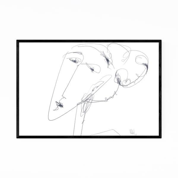 Noir Gallery Feminine Portrait Line Drawing Framed Art Print