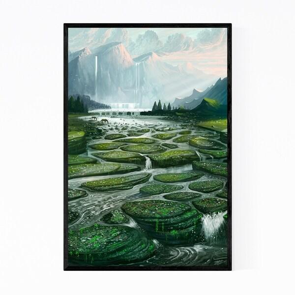 Noir Gallery Waterfall Nature Digital Painting Framed Art Print