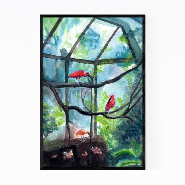Noir Gallery Tropical Birds Nature Painting Framed Art Print