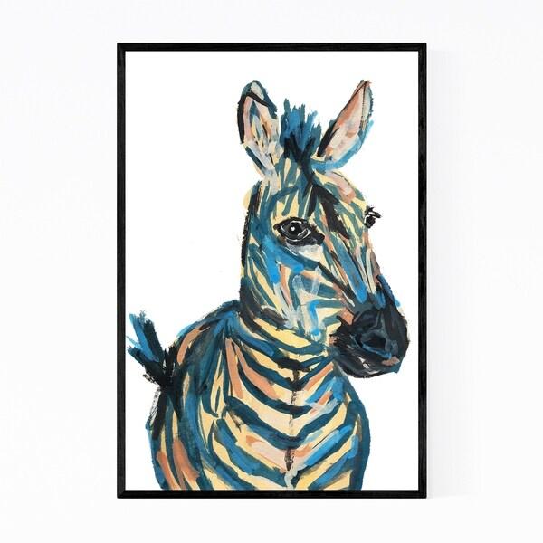Noir Gallery Zebra Animal Wildlife Painting Framed Art Print