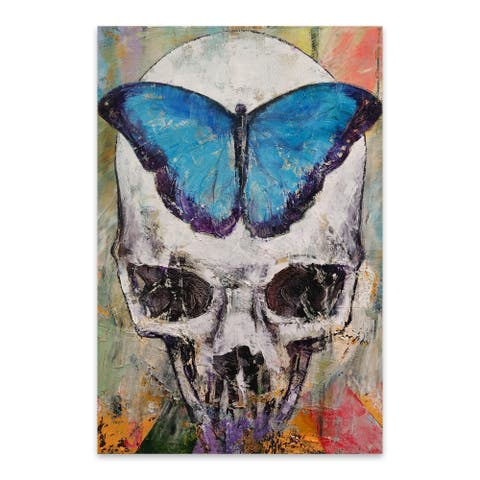 Noir Gallery Butterfly Skull Gothic Painting Metal Wall Art Print