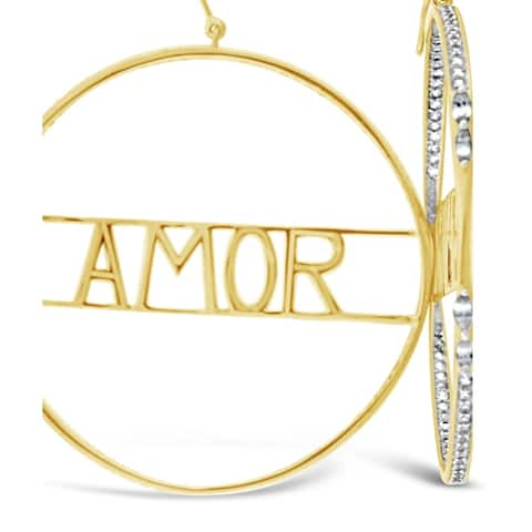 Encore by Le Vian 'Amor' Hoop Earrings featuring White Sapphire set in Honey Gold