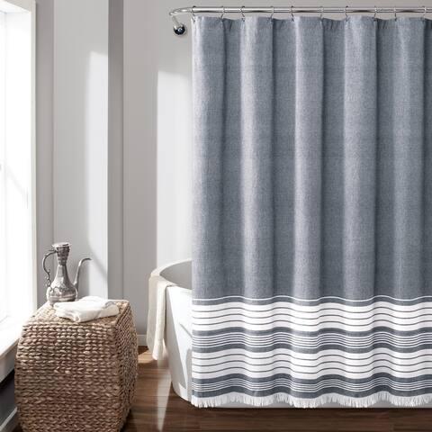 Lush Decor Nantucket Yarn Dyed Cotton Tassel Fringe Shower Curtain