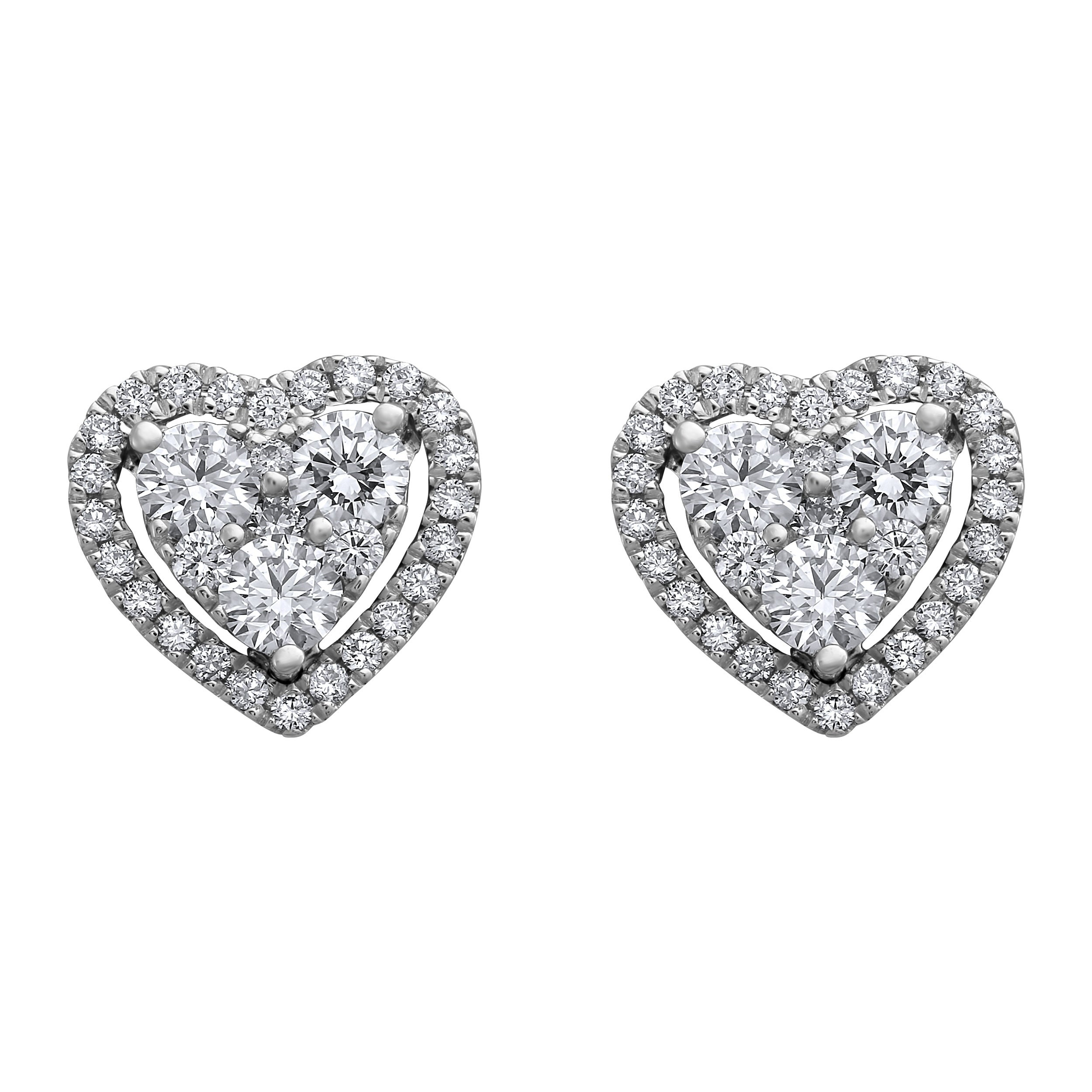 14k White Gold 3 4 Ct Tdw Diamonds Heart Stud Earrings By Beverly Hills Charm On Sale Overstock 28726664