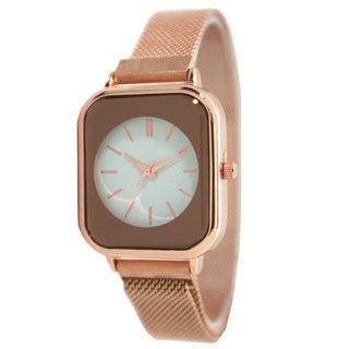 Olivia Pratt Magnetic Mesh Watch Band with Square Face