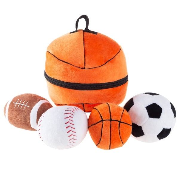 My First Sports Bag Playset- Plush Soccer, Baseball, Basketball & Football for Babies, Infants & Toddlers by Hey! Play!. Opens flyout.