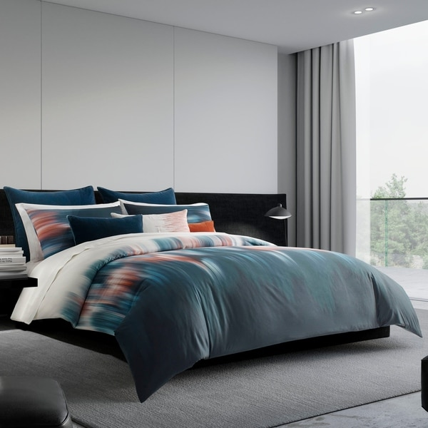 Vera Wang Blurr Blue Cotton Duvet and Coordinating Shams