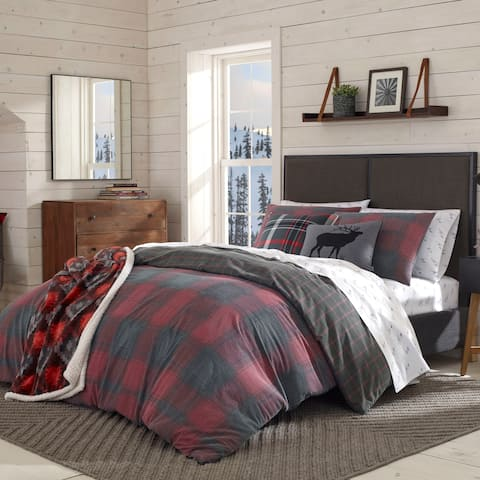 Eddie Bauer Cattle River Plaid Red Duvet Cover Set