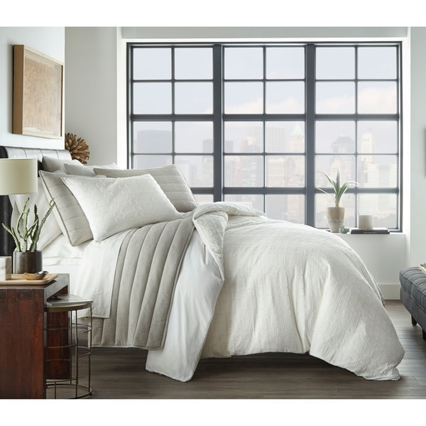 City Scene Sherman White Duvet Cover Set