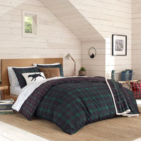 Eddie Bauer Woodland Tartan Green Duvet Cover Set