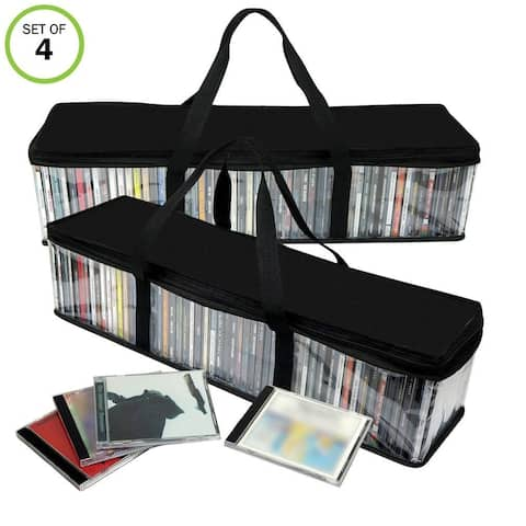Evelots CD Storage Bag-Zippered-Clear-Handles-Hold 100 CD's Total-Black Top-Set/2 - Set of 2