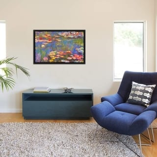 """iCanvas """"Water Lilies, 1916"""" by Claude Monet Framed Canvas Print"""