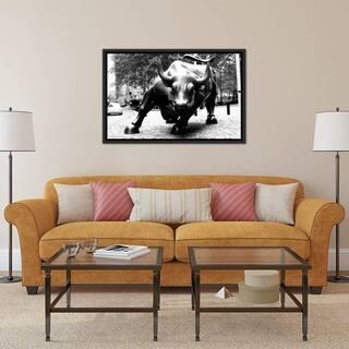 "iCanvas ""Wall Street Bull Black & White"" Framed Canvas Print"