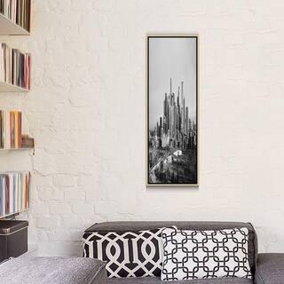 """iCanvas """"Denver Panoramic Skyline Cityscape (Black & White - Sunset)"""" Framed Canvas Print"""