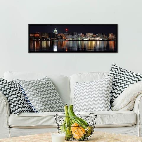 "iCanvas ""Madison Panoramic Skyline Cityscape (Night)"" Framed Canvas Print"