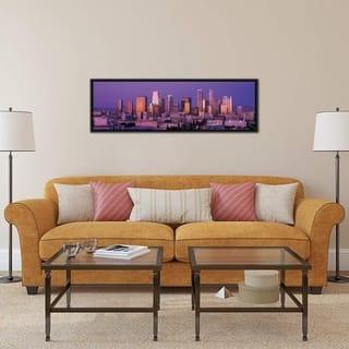 """iCanvas """"Los Angeles Panoramic Skyline Cityscape (Dusk)"""" Framed Canvas Print"""