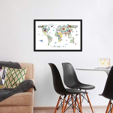 """iCanvas """"Animal Map of The World"""" by Michael Tompsett Framed Canvas Print"""