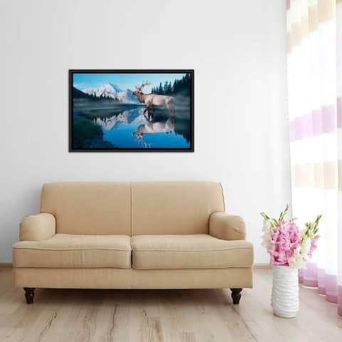 "iCanvas ""Reflections of Glacier"" by Gordon Semmens Framed Canvas Print"