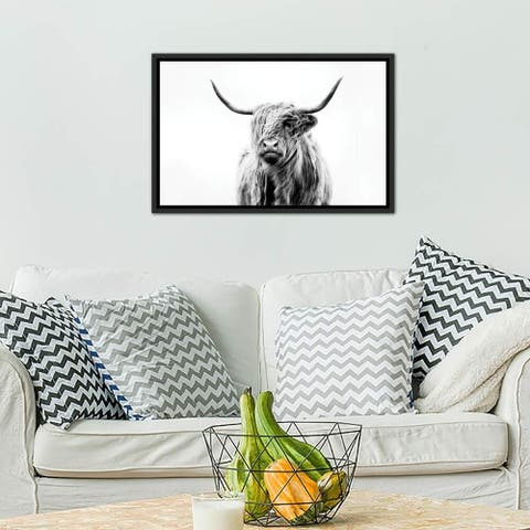 "Porch & Den ""Portrait of A Highland Cow"" by Dorit Fuhg Framed Canvas Print"