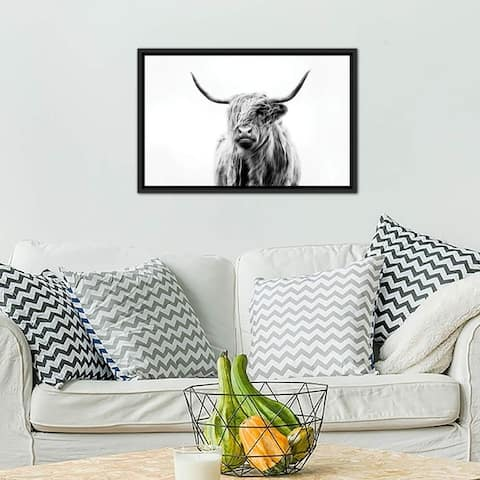 "iCanvas ""Portrait Of A Highland Cow"" by Dorit Fuhg Framed Canvas Print"