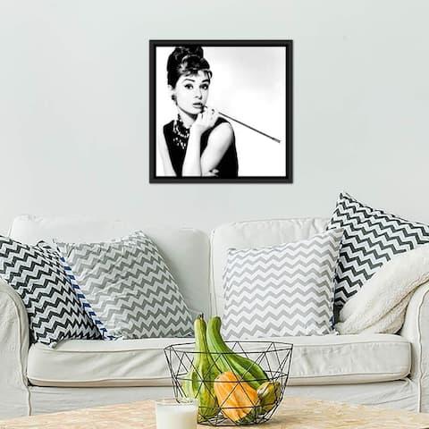 "iCanvas ""Audrey Hepburn Smoking"" by Radio Days Framed Canvas Print"