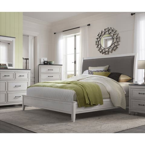 The Gray Barn Happy Horse White and Grey Sleigh Bed