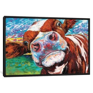 "iCanvas ""Curious Cow I"" by Carolee Vitaletti Framed Canvas Print"