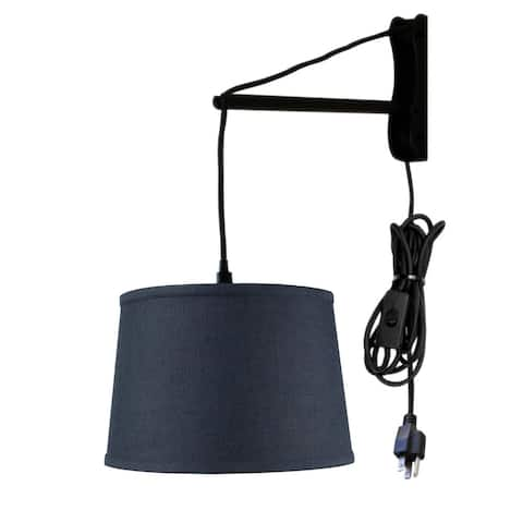 MAST Plug-In Wall Mount Pendant, 1 Light White Cord/Arm, Textured Blue