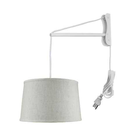 MAST Plug-In Wall Mount Pendant, 2 Light White Cord/Arm, Textured Blue
