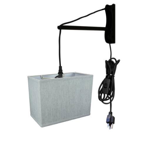 MAST Plug-In Wall Mount Pendant, 1 Light White Cord/Arm, Oatmeal