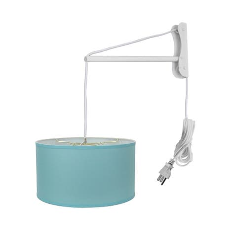 MAST Plug-In Wall Mount Pendant, 2 Light White Cord/Arm, Paradise Blue