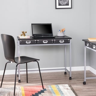 Porch & Den Petano Industrial Black Metal 3-Drawer Desk