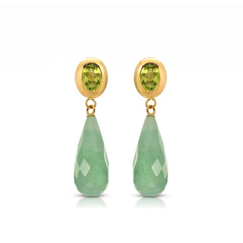 Pearl Lustre Green Jade Teardrop Earrings with Peridot in Yellow Gold.
