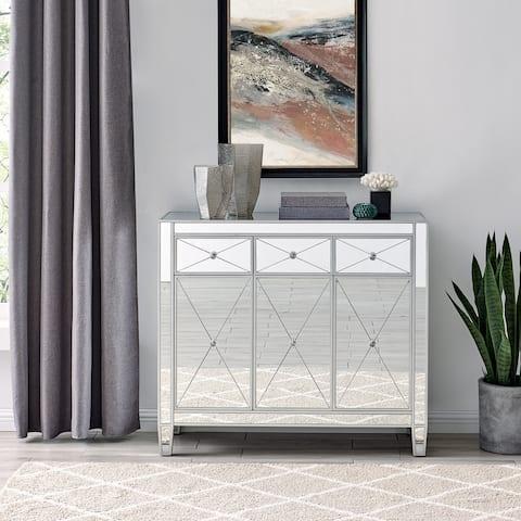 Silver Orchid Marter Glam Silver Mirror 3-Door Cabinet
